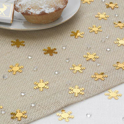 Gold SNOWFLAKE Crystals CHRISTMAS TABLE CONFETTI Decoration Scatter Xmas Party