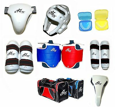 Star Sports WTF Taekwondo Sparring Gear Protectors Guards complete set 8~9 pcs