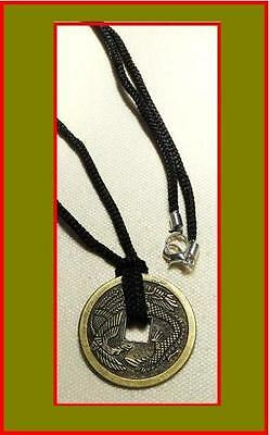 Phoenix Dragon Chinese Coin - Medallion Necklace, Good Luck Charm (M)