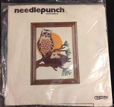 1980 CRAFTWAYS NEEDLEPUNCH EMBROIDERY KIT Owl Scene Vintage  Unopened