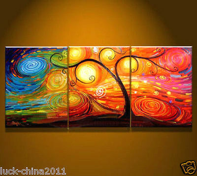 Three pieces Modern Abstract hand-paint Art Oil Painting Wall Decor no frame