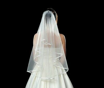 Beautiful 2T White Wedding Bridal Bride Veil with Satin Ribbon Edge Elbow Length