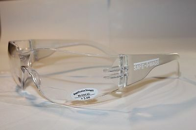 +2.50 x 3 Pairs Clear Bifocal Reading Safety Glasses Shaterproof Workwear