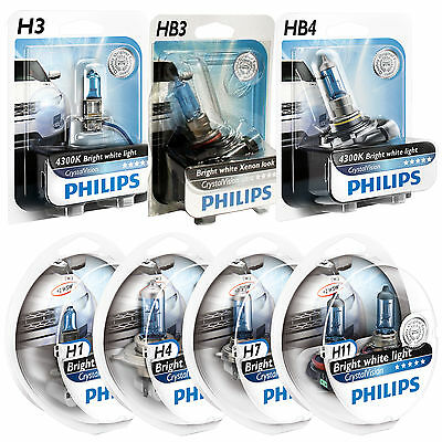 H1 H4 H7 H11 HB3 & HB4 Philips Crystal Vision Upgrade Car Headlight Bulbs