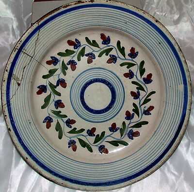 ANTIQUE PERSIAN MIDDLE EASTERN ISLAMIC GLAZED POTTERY BOWL PLATE HANDPAINTED
