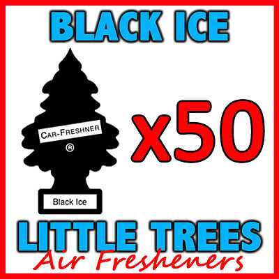 50 x BLACK ICE LITTLE TREES AIR FRESHENERS Freshener Scent Car Taxi Truck Uber