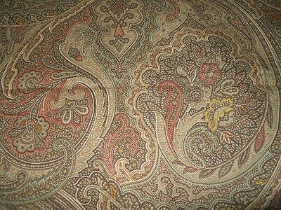 """ONE remnant KAUFMANN printed fabric brown yellow green coral red beige 2+Y X 54"""""""