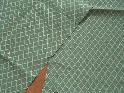 ONE remnant TEXTURED fabric GREEN BLUE IVORY BROWN GEOMETRIC jacquard design