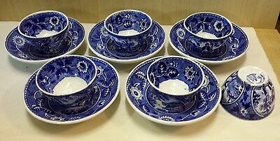 "petrus regout set of 5 antique blue cup and saucers decor"" Tea Drinker""."