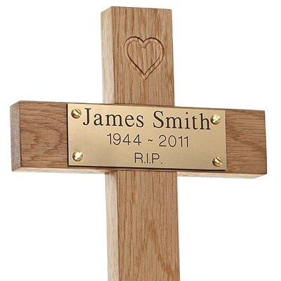 "12"" Oak Carved Heart Wooden Memorial Cross Engraved Plaque Grave Tree Marker pet"