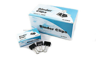 "New 60 PCs 25mm 1"" Binder Clips, small Size Metal Paper Binding Office 5 DOZ"
