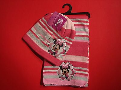 Disney Minnie Maus Winter Set Kinder Schal Halstuch + Mütze - ROSA Minnie Mouse