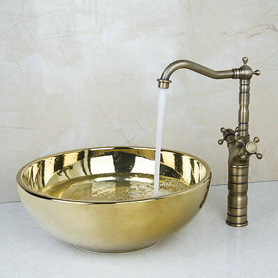 Bathroom Ceramics Gold Finished Vessel Sink and Waterfall Antique Brass Faucet