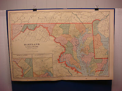 "1903 Cram's Atlas Map 2 Page,Maryland State,Nice Color,Suitable To Frame 14""X21"""