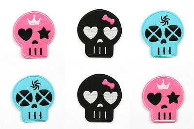 6pcs The Skull Embroidered Iron On Patch Motif Appliqué Embroidery Kids Gifts