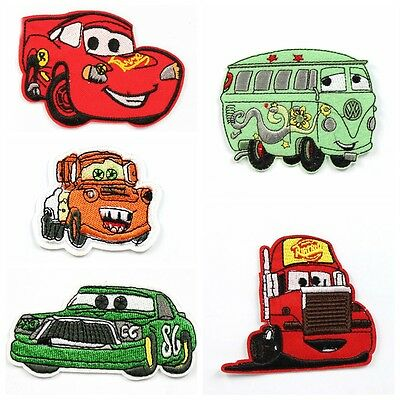 5pcs Disney Cars Fabric Embroidered Iron/Sew On Patch Appliqué Embroidery Kids