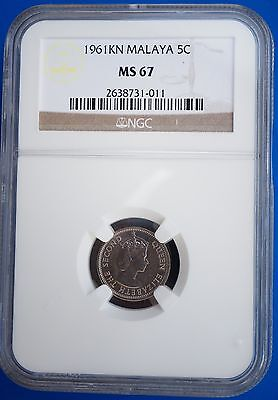 1961KN Malaya British Borneo 5 Cents NGC MS67 BU Coin -Only 1 Graded Higher