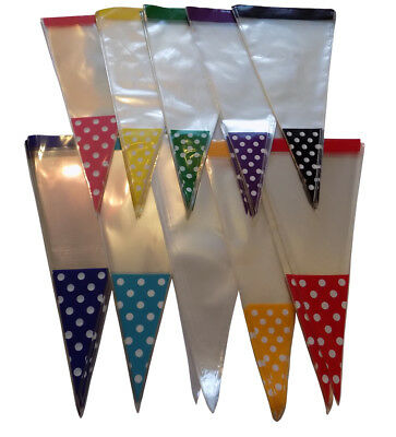 POLKA DOT SPOT Cone Cello Clear Party Gift Sweet 37 x 18cm   Bags & 8cm Ties