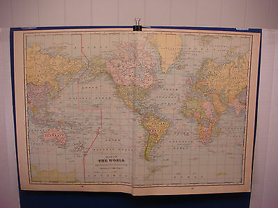 """1903 Cram's Atlas Map 2 Page,The World, Nice Color,Suitable To Frame 14""""X21"""""""