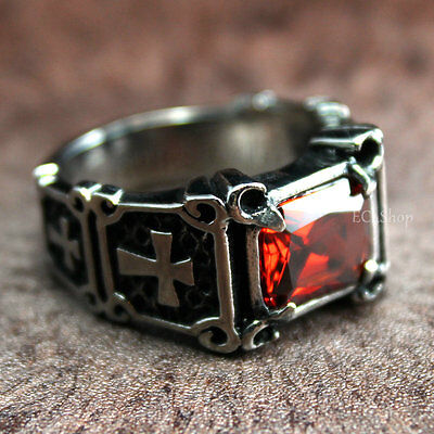 Men's Vintage Crusader Templar Cross Christian Ruby CZ 316L Stainless Steel Ring