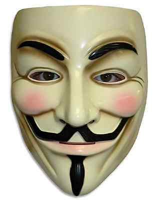V for Vendetta Mask Anonymous Guy Fawkes Fancy Dress Adult Costume Accessory