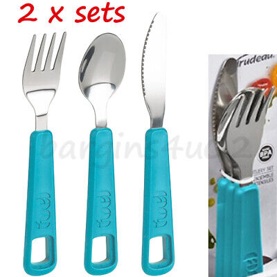 2 x 3 Piece Fuel Snap Cutlery Sets, Kids, Work, Picnic, Knife Fork Spoon - New