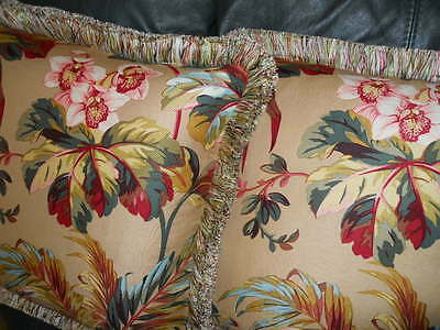Throw pillows Brunschwig & Fils fabric printed floral design Custom new PAIR