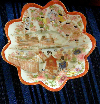 Vintage Satsuma Footed Bowl Scalloped Edge Geisha's & Lanterns So Nice Look