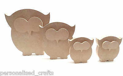 Free Standing Wooden 18mm MDF Owl Family Shape x1 200mm x1 150mm x2 100mm