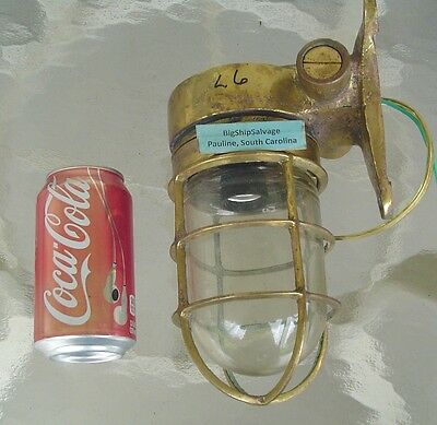 Salvaged Brass Nautical Bulkhead Ship Light - New USA Wiring  L6