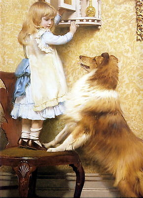 8x10 Charles Burton Barber Print SECRET PLACE Victorian Girl Shares w Collie Dog