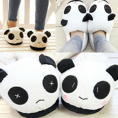 Winter Women Men Cute Panda Warm Soft Plush Antiskid Indoor Home Slippers Shoes