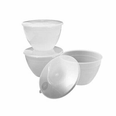 Lakeland 2 Pint Plastic Pudding Basin x 3 with Lids
