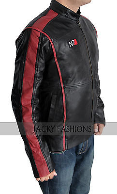 Mass Effect 3 N7 Game Black Genuine Leather Jacket + FREE GIFT INCLUDED