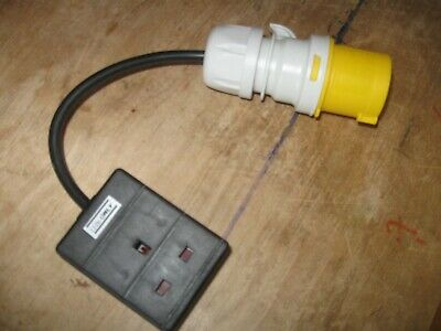 UK Site Plug 16A 40mm PAT tester cable adapter to UK 3-pin 8A socket 110v ONLY