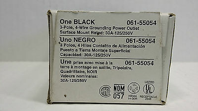 Leviton 30 Amp-125/250 V  3-Pole, 4 Wire  Black Grounding Power Outlet 061-55054