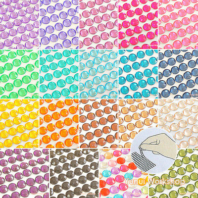 SMALL Sticker Sheet 3mm-6mm Self-Adhesive Acrylic Rhinestones Stripe Colors Gems