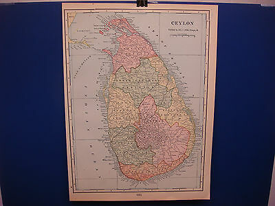 "1903 Cram's Atlas Map,1 Page, Ceylon, Nice Color, Suitable To Frame 11""X14"""