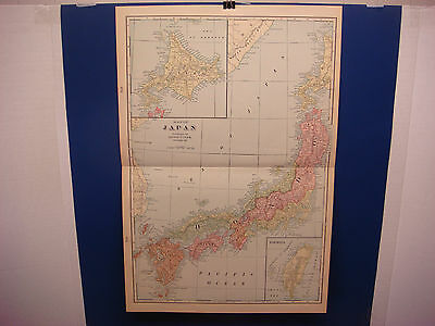 """1903 Cram's Atlas Map 2 Page, Japan, Nice Color, Suitable To Frame 14""""X21"""""""