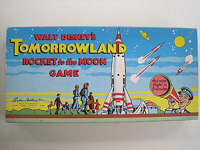 1956 Parker Brothers Walt Disney's~TOMORROWLAND ROCKET TO THE MOON Game~FINE !!