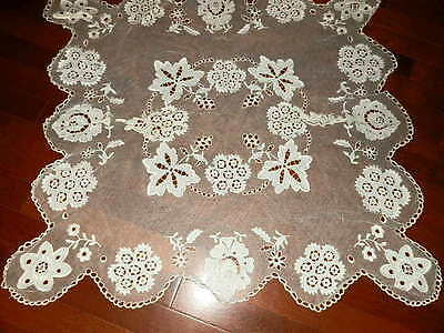 Gorgeous Alecon Lace Round Table Runner Estate Find 28 x 31 Cut Work