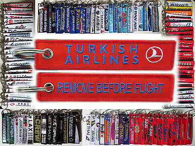 TURKISH AIRLINES tag keychain keyring REMOVE BEFORE FLIGHT