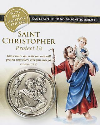 """St Christopher Metal Car Dashboard Plaque Medal 1 3/4"""" / 45mm Religious Gift"""