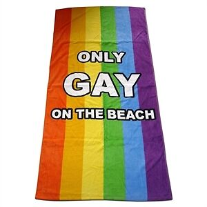 IGGI Only Gay On The Beach Towel Rainbow Holiday Accessory 100% Cotton