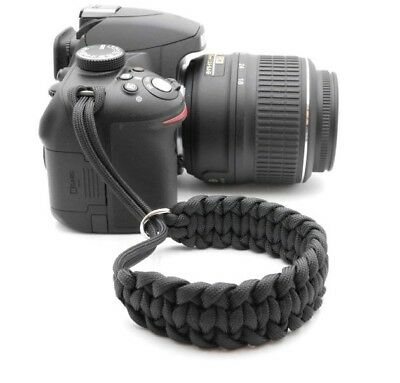 "The ""Cordy Black Cat"" Paracord Camera Wrist Strap - Handmade by Cordweaver"