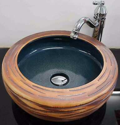 Round Bathroom Cloakroom Ceramic Counter Top Wash Basin Sink Washing Bowl