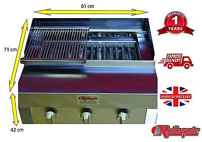 Bbq Char Grill / Griddle / On Bottle Gas / Flame Grill / 3 Burners Steak Grill