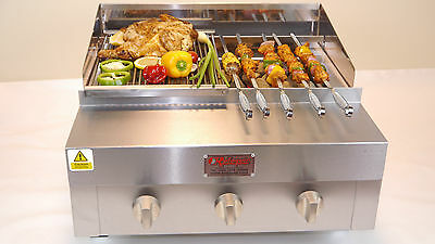 2 Feet 3 Burner Charcoal Flame Grill / Griddle / On Bottle Gas / Bbq Chargrill