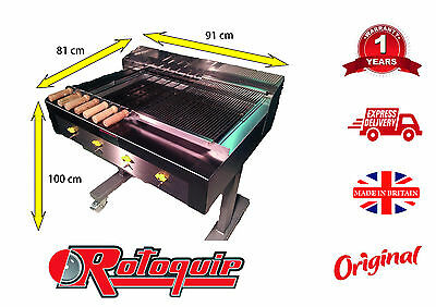 4 Burner Charcoal Flame Grill On Stand With Half Griddle & Half For Sheesh Kebab