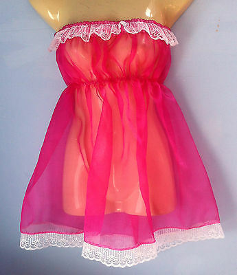 pink crystal organza dress adult baby fancy dress sissy french maid fits 36-52